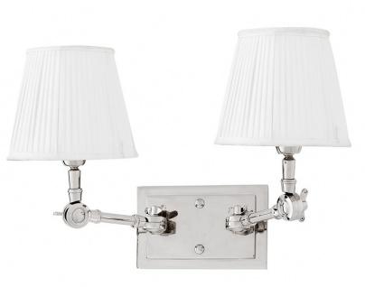 Casa Padrino Luxus 2er Wandleuchte Weiss / Nickel Finish - Leuchte - Luxury Collection