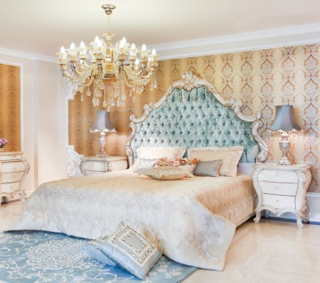 Casa Padrino Luxus Barock Schlafzimmer Set Grün / Creme / Kupferfarben - 1 Doppelbett mit Kopfteil & 2 Nachttische - Barock Schlafzimmer Möbel - Edel & Prunkvoll