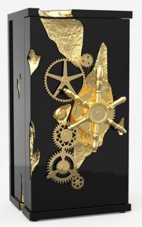 CPBlack Luxus Safe by Casa Padrino Schwarz / Gold - Hochwertiger Tresor mit Zahnrad Mechanismus