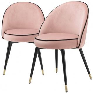 Casa Padrino Luxus Esszimmerstuhl Set Rosa / Schwarz / Messing 55 x 64 x H. 83 cm - Esszimmerstühle mit edlem Samtstoff - Esszimmer Möbel