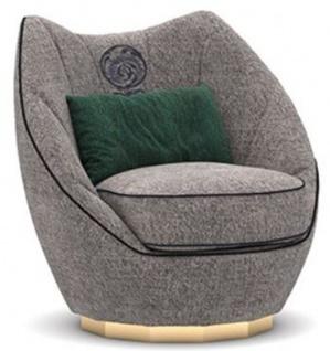 Casa Padrino Luxus Wohnzimmer Sessel Grau / Schwarz / Gold 85 x 90 x H. 90 cm - Edle Wohnzimmer Möbel - Luxus Kollektion
