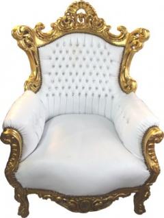 Barock Sessel Al Capone Weiß/Gold mit Bling Bling Glitzersteinen