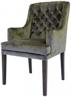 Casa Padrino Designer Esszimmer Stuhl mit Armlehnen ModEF 309 Taupe / Braun - Hoteleinrichtung - Buchenholz - Chesterfield Design - Vorschau 3