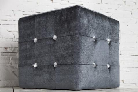 Casa Padrino Sitzhocker Würfel Grau mit Bling Bling Steinen - Cube Hocker - Designer Hocker