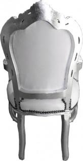 Casa Padrino Barock Esszimmer Stuhl mit Armlehnen Weiß / Silber Lederoptik - Möbel Antik Stil - Vorschau 3