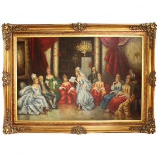 Riesiges Handgemaltes Barock Öl Gemälde Literaturabend Gold Prunk Rahmen 225 x 165 x 10 cm - Massives Material