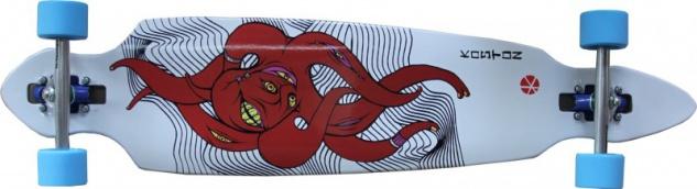 Koston Longboard Drop Through Komplettboard Cruiser Octopus 41.7 x 9.5 inch Blue Wheels - Profi Dropthrough Longboard Drop Thru Carver SPECIAL!!!!!!!!