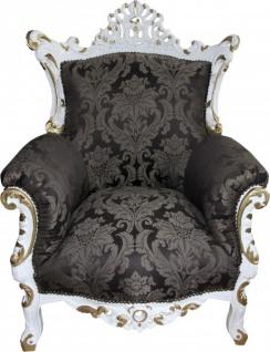 Casa Padrino Barock Sessel Al Capone Schwarz Muster / Weiß mit Gold Bemalung - Antik Stil Wohnzimmer Möbel - Limited Edition