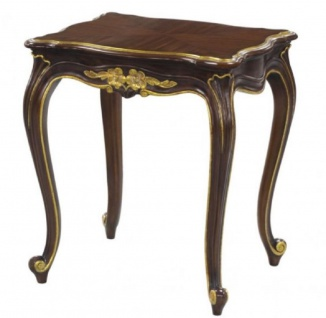 Casa Padrino Luxus Barock Beistelltisch Dunkelbraun / Gold 58 x 48 x H. 66 cm - Luxus Qualität