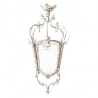 Casa Padrino Antik Stil Barock Decken Hängeleuchte 35 x 35 x H 70 cm - Glas / Silber - Laterne Hängelaterne