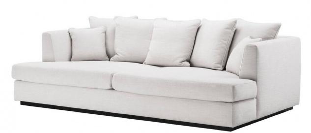 Casa Padrino Luxus Wohnzimmer Sofa Weiß / Schwarz 265 x 151 x H. 90 cm - Couch mit 7 Kissen - Luxus Wohnzimmermöbel