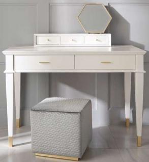 Casa Padrino Luxus Neoklassik Schminktisch mit 5 Schubladen Weiß / Gold 120 x 50 x H. 81 cm - Art Deco Möbel