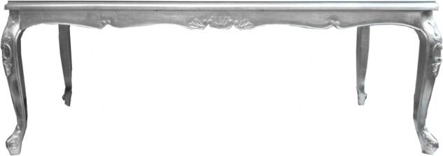 Casa Padrino Luxus Barock Esstisch mit Glasplatte Silber 200 x 100 x H. 81 cm - Handgefertigter Esszimmer Tisch - Made in Italy - Luxury Collection