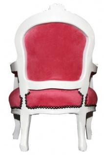 Barock Kinder Stuhl Rosa/Weiß - Armlehnstuhl - Vorschau 4