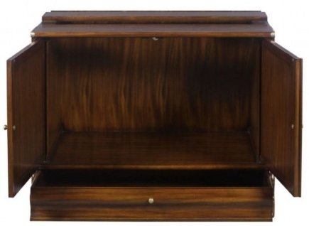 Casa Padrino Luxus Mahagoni Bücherschrank mit 2 Türen und Schublade Dunkelbraun 86 x 47 x H. 68 cm - Luxus Büromöbel - Vorschau 3
