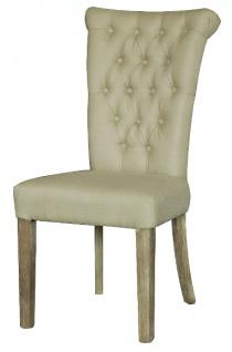 Casa Padrino Chesterfield Esszimmerstuhl Creme 51 x 66 x H. 100 cm - Luxus Esszimmer Möbel