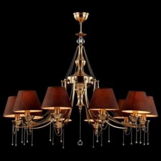 Casa Padrino Barock Kristall Decken Kronleuchter Messing 100 x H 70 cm Antik Stil - Möbel Lüster Leuchter Hängeleuchte Hängelampe