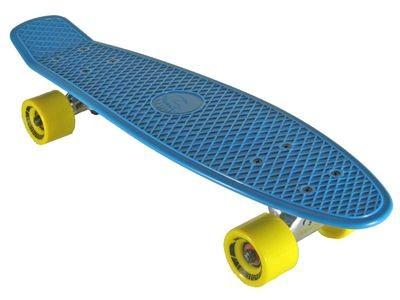Oldschool Skateboard Plastic Cruiser 70s Style Blue / Yellow Plastik Skateboard - Vinyl Skateboard Cruiser Longboard