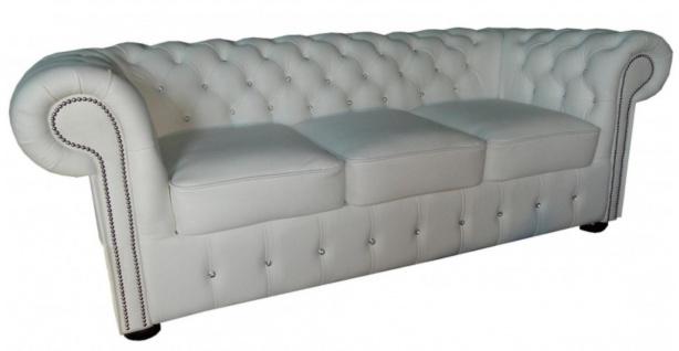 Casa Padrino Chesterfield Echtleder 3er Sofa in weiß mit Glitzersteinen 200 x 90 x H. 78 cm - Luxus Möbel