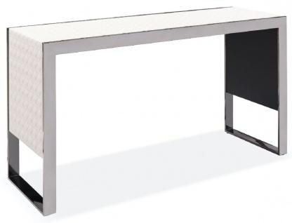 Casa Padrino Luxus Konsole Weiß / Silber 120 x 40 x H. 64 cm - Rechteckiger Edelstahl Konsolentisch mit gemustertem Echtleder - Luxus Möbel