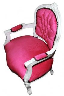 Barock Kinder Stuhl Rosa/Weiß - Armlehnstuhl - Vorschau 3