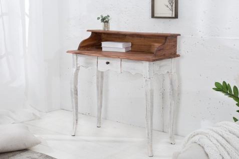 Casa Padrino Designer Sekretär Natur / Weiss Mahagoni 80 cm x H. 92 cm - Massivholz - Landhausstil - Vorschau 2
