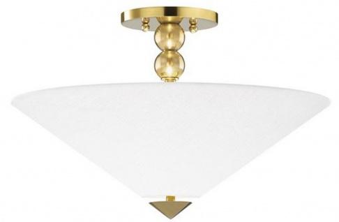 Casa Padrino Luxus Deckenleuchte Antik Messing / Weiß Ø 45, 7 x H. 29, 2 cm - Deckenlampe mit rundem Glas Lampenschirm
