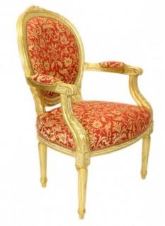 Casa Padrino Barock Medaillon Salon Stuhl Bordeaux Muster Gold / Gold - Möbel Antik Stil - Vorschau 2
