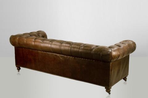 Chesterfield Luxus Echt Leder Sofa 3 Sitzer Vintage Leder von Casa Padrino Cigar - Vorschau 2