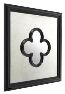 Casa Padrino Designer Mahagoni Spiegel Schwarz 80 x H. 80 cm - Luxus Wandspiegel