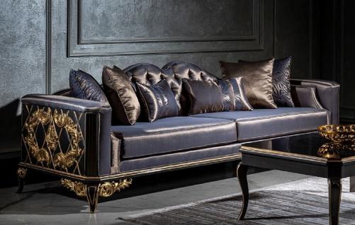 Casa Padrino Luxus Barock Sofa Blau / Schwarz / Gold - Prunkvolles Wohnzimmer Sofa mit dekorativen Kissen - Barock Möbel - Edel & Prunkvoll