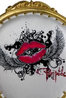 Pompöös by Casa Padrino Luxus Barock Esszimmerstühle Pink Lips Schwarz / Weiß Streifen / Gold - Pompööse Barock Stühle designed by Harald Glööckler - 4 Esszimmerstühle - Vorschau 5
