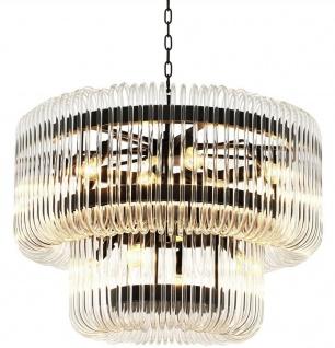 Casa Padrino Luxus Kronleuchter Bronze / klares Glas Ø 80 x H. 70 cm - Runder Wohnzimmer Kronleuchter