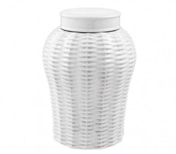 Casa Padrino Designer Keramik Vase mit Deckel Weiß Durchmesser 26 x H. 36, 5 cm - Luxus Vase