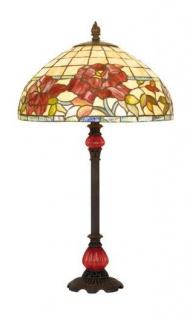Casa Padrino Tiffany Tischleuchte mit Barock Lampenfuß - Glas Mosaik Tisch Leuchte Lampe Mod X568