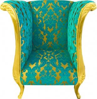 Extravaganter Pompöös by Casa Padrino Luxus Designer Sessel von Harald Glööckler Türkis Bouquet Muster / Gold - Pompööser Barock Sessel