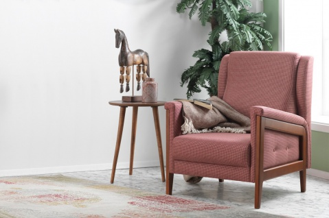 Casa Padrino Designer Bergere Sessel Florence Rot / Holzfarbig - Hotel Möbel