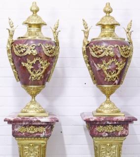 Casa Padrino Barock Vasen mit Marmor Säulen Set Rot / Gold 30 x 30 x H. 180 cm - Edel & Prunkvoll - Vorschau 2
