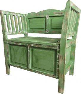 Casa Padrino Landhausstil Shabby Chic Sitzbank mit Stauraum Antik Grün / Braun / Weiß 80 x 44 x H. 80 cm - Landhausstil Möbel