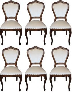 Casa Padrino Luxus Barock Esszimmer Set Creme / Braun 45 x 46 x H. 99 cm - 6 handgefertigte Esszimmerstühle - Barock Esszimmermöbel