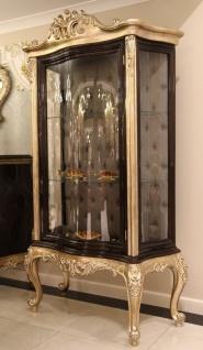 Casa Padrino Luxus Barock Vitrine Dunkelbraun / Beige / Gold 120 x 50 x H. 205 cm - Massivholz Vitrinenschrank - Wohnzimmerschrank - Edle Barock Möbel