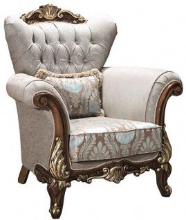 Casa Padrino Luxus Barock Wohnzimmer Sessel mit Glitzersteinen und dekorativem Kissen Silbergrau / Braun / Gold 112 x 83 x H. 115 cm - Barock Möbel