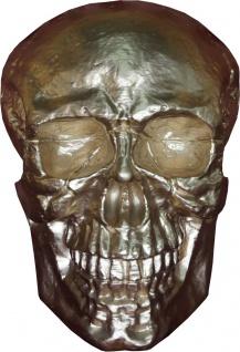 Casa Padrino Skulptur Totenkopf Skull Gold B. 30 cm H. 43 cm - Deko Figur - Wanddeko