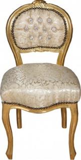 Casa Padrino Barock Damen Stuhl Creme Muster / Gold mit Bling Bling Glitzersteinen - Schminktisch Stuhl