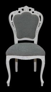 Casa Padrino Barock Esszimmer Stuhl ohne Armlehnen Grau / Antik Weiß - Designer Stuhl - Luxus Qualität - Vorschau 2