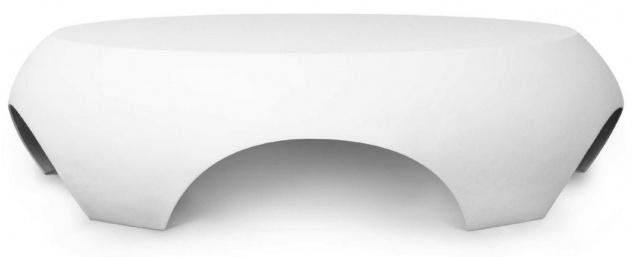 Casa Padrino Luxus Gartentisch Matt Weiß Ø 140 x H. 35 cm - Runder Wetterbeständiger Couchtisch - Garten Terrassen Tisch Möbel - Luxus Kollektion