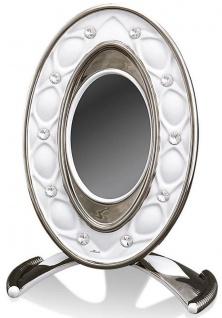 Casa Padrino Barock Bilderrahmen Weiß / Silber 26 x 16 x H. 36 cm - Prunkvoller Keramik Bilderrahmen mit Swarovski Kristallglas - Vorschau