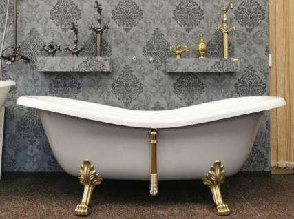 Casa Padrino Luxus Jugendstil Badewanne Weiß / Platingrau / Gold 188 x 83 x H. 69 cm - Freistehende Retro Badewanne mit Löwenfüßen - Retro Badezimmer Möbel