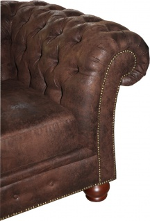 Casa Padrino Limited Edition Designer Chesterfield 3-er Sofa Braun B 226 cm - Club Möbel - Vorschau 3