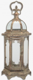 Casa Padrino Jugendstil Tischlaterne Antik Messingfarben / Grau 23, 1 x 20, 3 x H. 52, 4 cm - Antik Stil Kerzenleuchter mit Tragegriff - Barock & Jugendstil Deko Accessoires